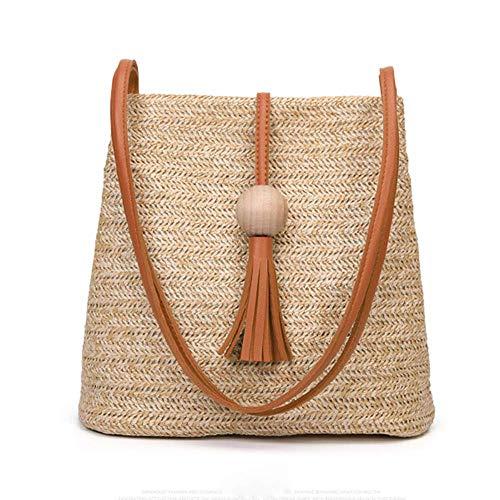 (Women's Summer Straw Bucket Tote Bag Straw Woven Handbag Tassel Shoulder Bag (Brown handle))