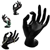 Adorox Black Polyresin Hand Form Jewelry Display Bracelet Ring Necklace Stand Holder
