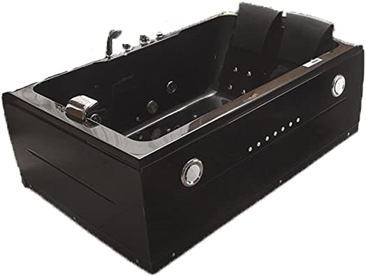 2 Two Person Indoor Whirlpool Massage Hydrotherapy Black Bathtub Tub with BLUETOOTH UPGRADE, FREE Remote Control and Inline Water Heater