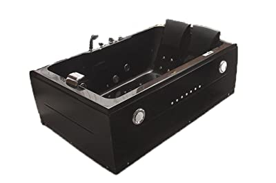 2 Two Person Indoor Whirlpool Massage Hydrotherapy Black Bathtub Tub with BLUETOOTH UPGRADE, FREE Remote Control, and Inline Water Heater