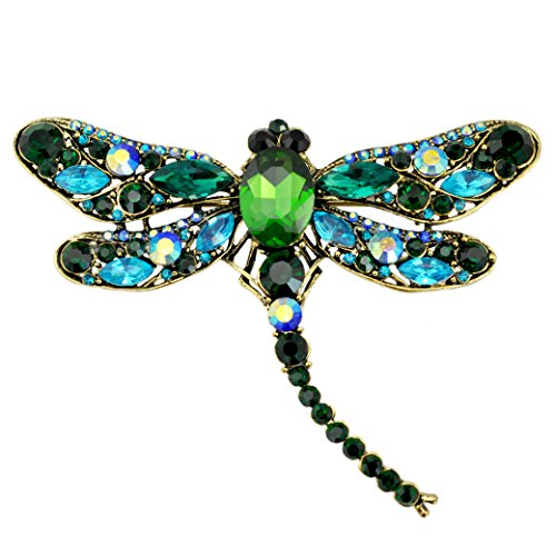 SELOVO Blue Green Dragonfly Big Large 3in Statement Brooch Pin Antique Gold Tone