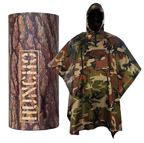 Hunting Rain Poncho with Breathable Zippers and Chest Pocket. Camo, Ripstop and Adult Size. Multi-Functional, Waterproof, Compact and Lightweight for Camping, Hiking, Survival and Outdoors.