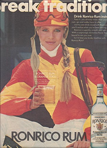 **PRINT AD** For Ronrico Rum 1983 Lady Jockey Break Tradition **PRINT AD**