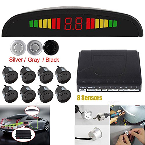 Omnibearing & Intelligent Parking Assistance System Contain Visual Digital LED Display & 8 Sensors (Black)