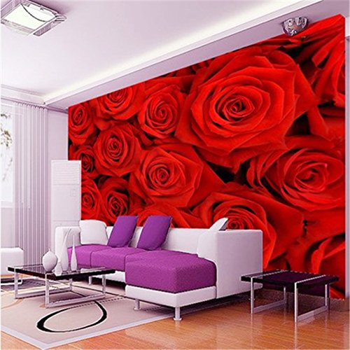 LHDLily 3D Wallpaper Mural Wall Sticker Thickening Photo Large Waterproof The Wall Entranceway Girl Paste Romantic 300cmX200cm by LHDLily