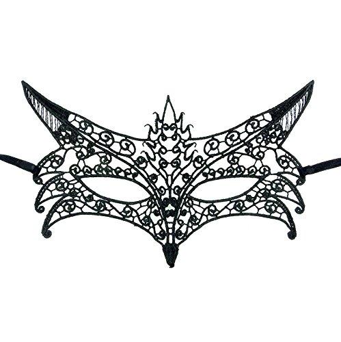 Darker Peach - Samantha Peach Gorgeous Black Fox Lace Masquerade Mask