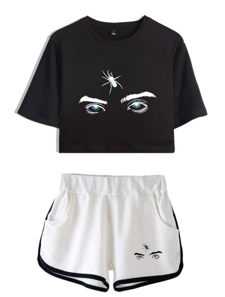 SIMYJOY Unisex Billie Eilish Crop Top Bellyache Hiphop Street Fashion T-shirts and Shorts Suit Cool Sport Clothes Set For Girls and Women black/&white XS
