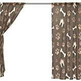 SEULIFE Window Sheer Curtain, Animal Dog Paw Prints Bones House Voile Curtain Drapes for Door Kitchen Living Room Bedroom 55x78 inches 2 Panels