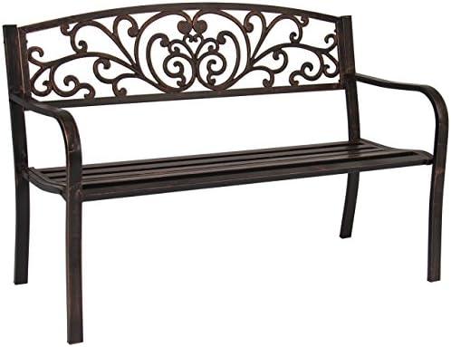 koonlert Shop Outdoor Chair Patio Bench Metal Garden Backyard Furniture Deck Park Seat Antique Bronze 568