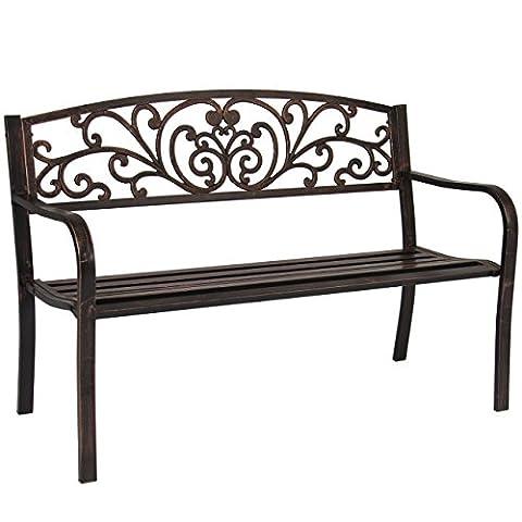 Outdoor Bench Patio Chair Metal Garden Furniture Deck Backyard Park Porch Seat Antique Bronze # 568 - Orleans Patio Furniture