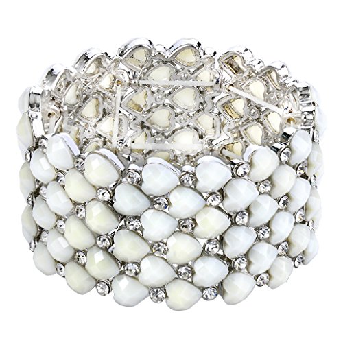 BriLove Women's Bohemian Boho Crystal Bubble Beaded Multi Heart Shape Round Stretch Cuff Bracelet White Silver-Tone