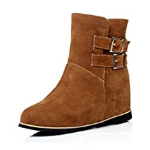 BalaMasa Ladies Multilayer Metal Strap Heighten Inside Romanesque Style Soft Material Boots