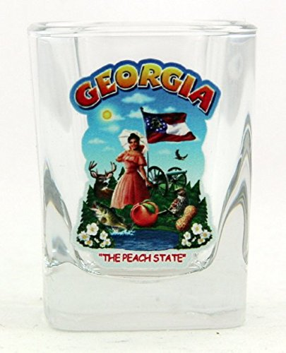 (Georgia State Montage Square Shot Glass)