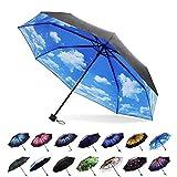 Xiuying Feng Travel Compact Umbrella Windproof Sun & Rain Umbrella Ultra Light Parasol(Cloud)