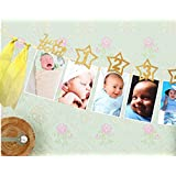JeVenis Glittering Sweet Baby First Birthday Decorations Banner 1-12 Months Photo Rope Banner 1st Birthday Party Supply (Gold)