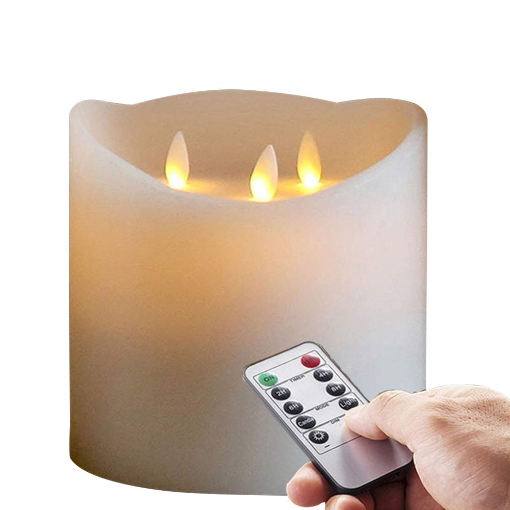 6''X6'' Huge 3-Wicks Remote Moving Flameless Candle Ivroy 1pcs