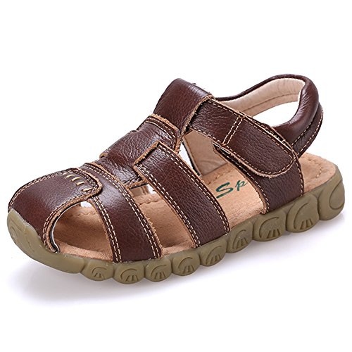 Brown Leather Sport Sandals (CIOR Boys' Open-Toe/Closed-Toe Leather Outdoor Sport Casual Sandals(Toddler/Little Kid),TLX04,Brown,28)