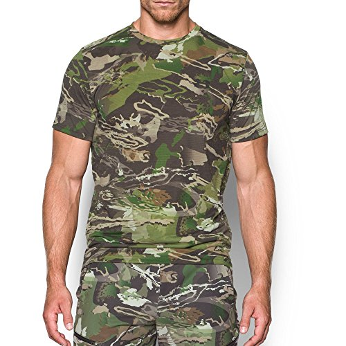 Under Armour Mens Threadborne Camo Short sleeve T-Shirt,Ridge Reaper Camo Fo /Black, - Ridge Neck Crew