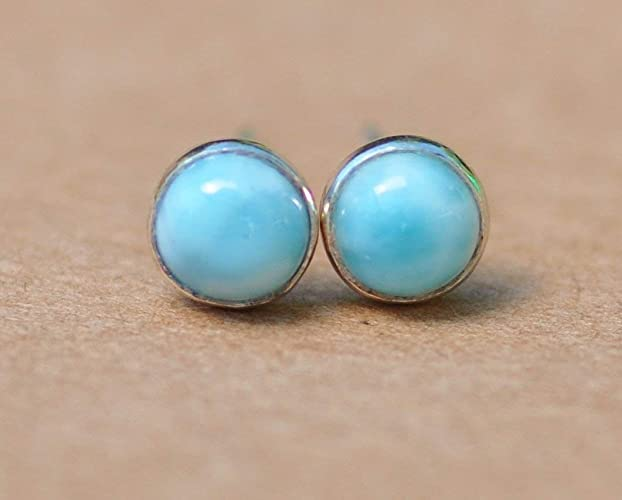 1c923d01d Larimar stud earrings, sterling silver studs 5mm cloudy blue gemstone  jewellery gift for him or her, perfect for a birthday or christmas present:  ...