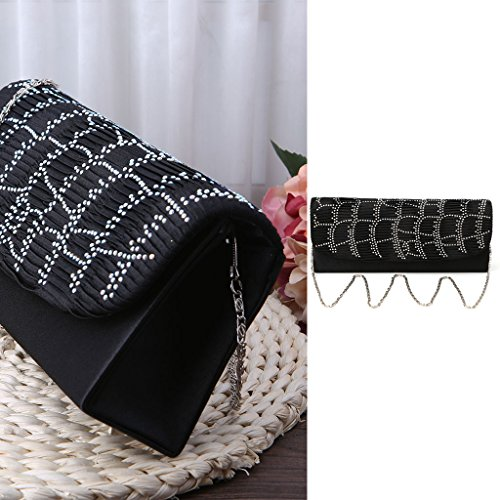 Girls Lady Gold Clutch Bag Wedding Evening Women Black Purse Party Handbag Stylish JAGENIE Wallet qT6UEtaT