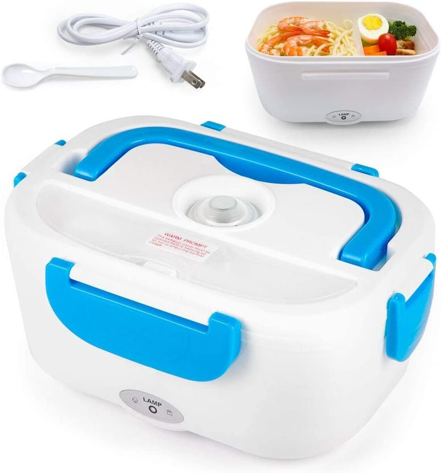 TLOG Electric Heating Lunch Box, 1.5L Food Storage Warmer Food Heater Portable Lunch Containers Warming Bento for Home Food Grade Material (Not for Car) (Blue)
