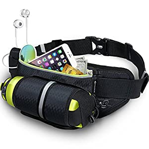 Fanny Pack MYCARBON Waist Pack with Water Bottle Holder Water Resistant Running Belt for iPhone 7/6S Plus Galaxy S6 S7 Note 6 Reflective Water Bottle Pack for Running Hiking Cycling Travelling-Black