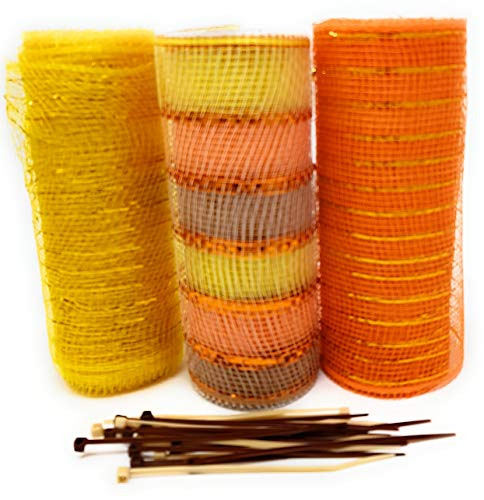 Fall Thanksgiving Decorative 5 Yard Mesh Rolls (Pack of 3) for Crafting Wreaths and Zip Ties for Securing Mesh to Frames (Gold, Stripes, Orange)