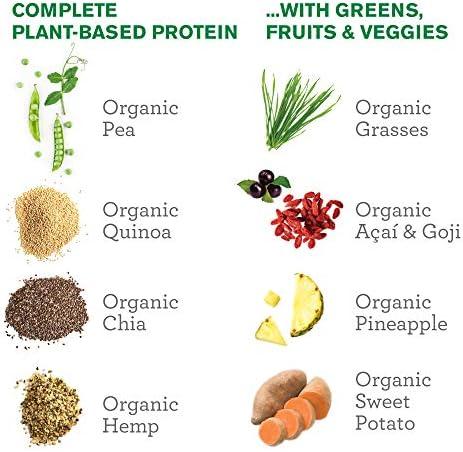 Amazing Grass Protein Superfood: BIO Proteína Vegana a base de Guisante, Cáñamo, Quinua y Chía, Verduras, Frutas y Superalimentos, Espirulina, ...