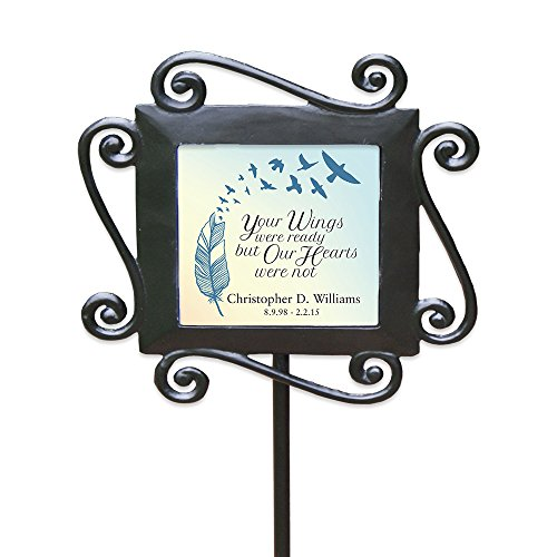 "GiftsForYouNow Wrought Iron Personalized Memorial Garden Stake, 28"" by 8.5"" - Iron Cast Wrought Garden Decor"