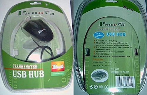 For Desktops or Laptops PCs USB 2.0 Illuminated Mini 4 Port Hub Works w// Macs