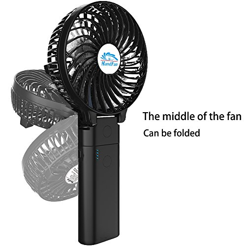 HandFan Portable Handheld Fan, Mini Hand Fan/Small Desk Fan Folding Change 5-18 Hours Working Time Personal Fan Rechargeable Battery/USB Operated Electric Fan Handle is 5200mA Power Bank(Power Black) by HandFan (Image #3)