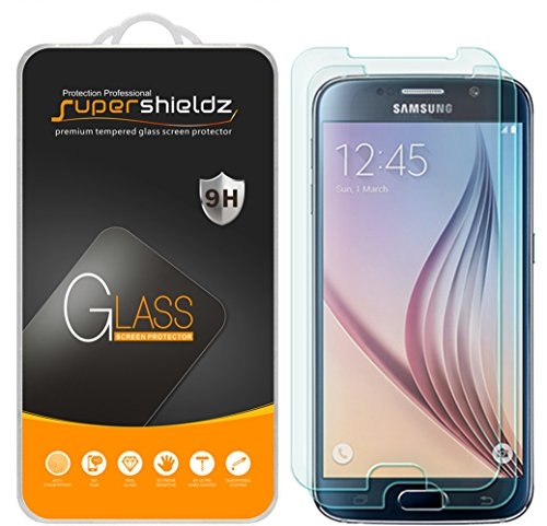 (2 Pack) Supershieldz for Samsung Galaxy S6 Tempered Glass Screen Protector, Anti Scratch, Bubble Free