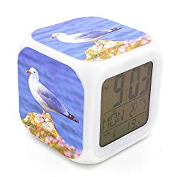 BoFy Led Alarm Clock Seagull Sea Mew Bird Animal Pattern Personality Creative Noiseless Multi-functional Electronic Desk Table Digital Alarm Clock for Unisex Adults Kids Toy Gift