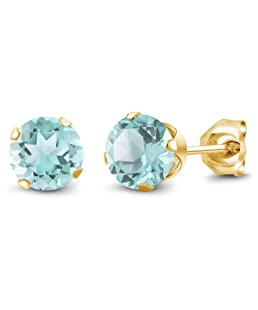 Gem Stone King 1.20 Ct Round Shape Sky Blue Topaz Yellow Gold Plated Silver Stud Earrings