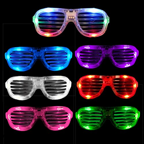 12 Pack LED Light Up Glasses - Assorted Flashing Lights (Slotted Shades) (Coolest The Glasses)