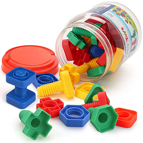 Good Toys For 2 Year Olds (LotFancy 24PCS Jumbo Nuts and Bolts Fine Motor Skills, Occupational Therapy Toddler Toys with Storage Case, Montessori Building Construction Set Kids Matching Game for Preschoolers Boys)