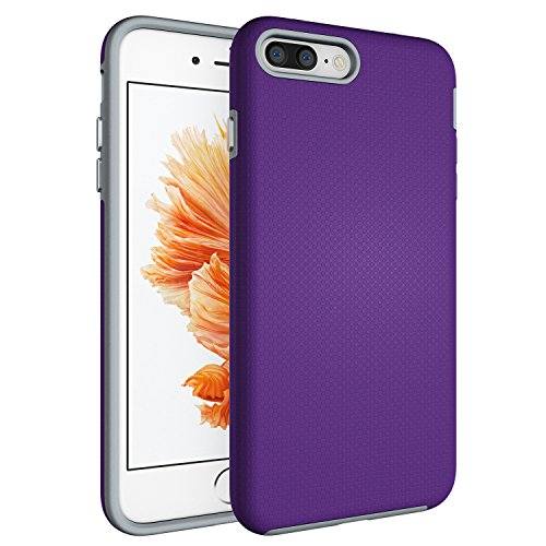 iPhone 8 Plus Case,Berry(TM) [Non-slip] [Drop Protection] [Shock Proof] [Dual Lawyer] Hybrid Defender Armor Full Body Protective Rugged Holster Case Cover For iPhone 8 Plus / 7 Plus (Purple Shield Protector Case)