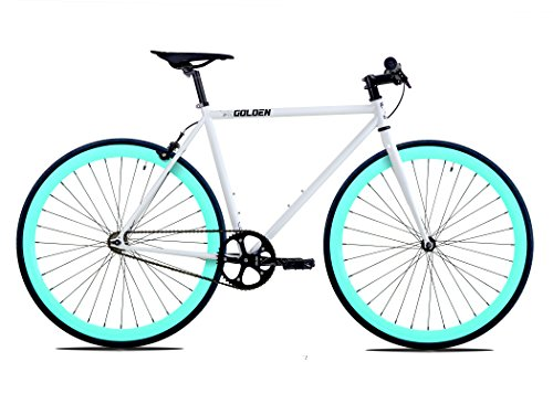 Golden Cycles Fixed Gear Bike Steel Frame Fixie with Deep V Rims Collection (Shocker Celestial, 48)