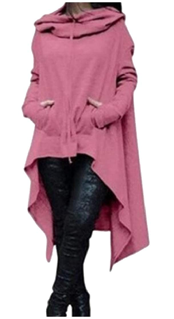 YUNY Womens Irregular Hem Sports Solid Color Long Hoodies Outwear Pink 2XL