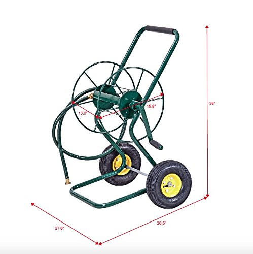 Garden Water Hose Reel Cart 2 Durable 10'' Pneumatic Wheels Sturdy Steel Construction Professional Commercial Home Outdoor Patio Yard Plants Flowers Watering Crank Mechanism Easily Wind The Hose