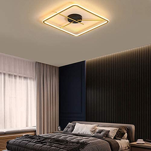 38W LED Ceiling Light Rectangle Black Gold Metal Ceiling lamp dimmable with Remote Control Indoor Lighting for Living Room Bedroom Dining Room Office,50 * 50CM