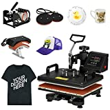 F2C Pro 5 in 1 Combo Heat Press Machine T-Shirt Hat Cap Mug Plate Digital Transfer Sublimation Machine New Black (5 in 1 Swing Away): more info