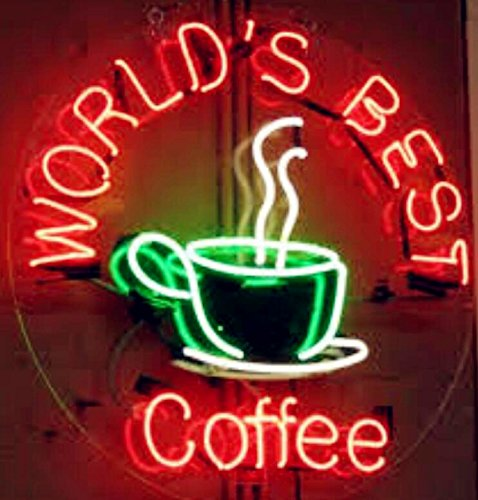 Mirsne neon signs, glass tube neon lights, 24'' by 24'' inch World's Best Coffee neon signs bar, the best neon sign custom supplied for a wide range of personal uses.