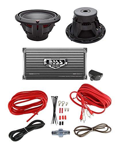 "2) Rockford Fosgate P2D4-12 12"" 1600W Subs + Boss AR1600.4 1600W Amp + Amp Kit"