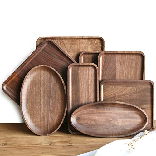 Walnut Plate North American Black Walnut Solid Wood Tray Sushi Fruit Snack Wooden Plate Wood Color 32122 Cm Oval ()