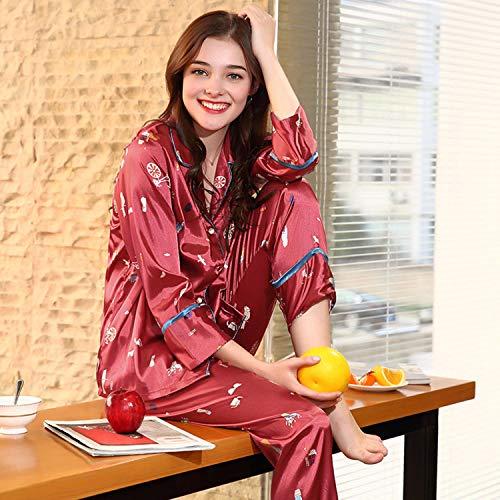 Aibab Pijamas Larga 2 Manga Traje Pantalon Seda De Mujer Piezas Chándal wwA54grqx