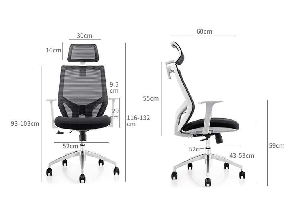 Ergonomisk kontorsstol med stöd för ländrygg – justerbar höjd, nackstöd – andningsbart nätryggstöd-svart GRÅ