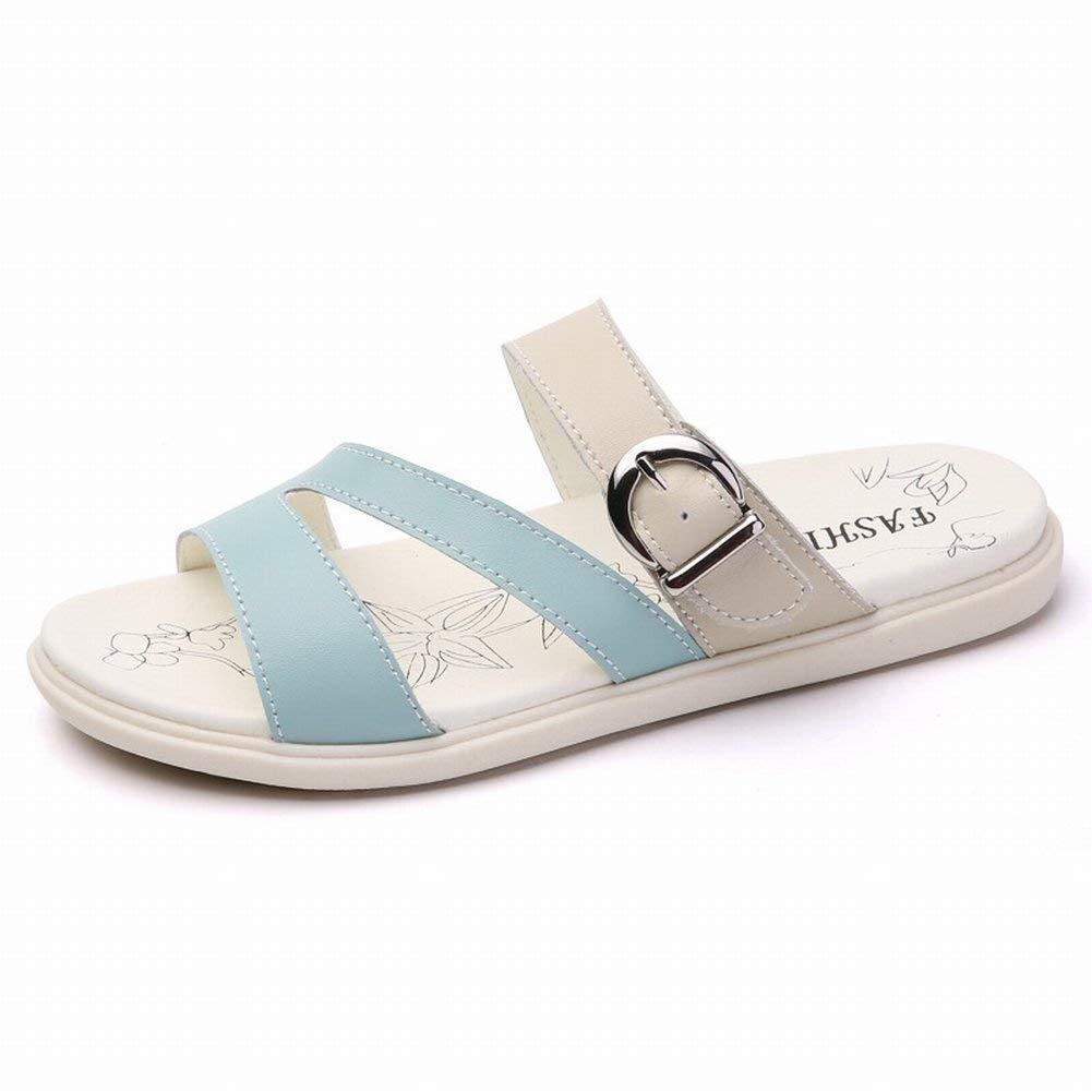 Oudan Mode Einfache Sandalen Bequem Allgleiches Pantoffeln Leder Tragen Weibliche Hausschuhe (Farbe   Mi LAN Größe   38)