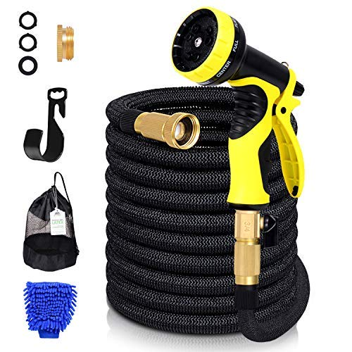 AdorioPower Flexible Expandable 50ft Garden Hose, 100% Latex Core Expanding Water Hose with Solid Brass Connectors, 9 Functions Spray Nozzle for Home, Garden, Car Washing & Heavy Duty (50 FT)