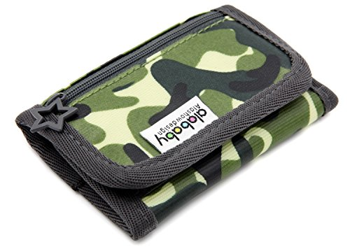 Trifold Canvas Outdoor Sports Wallet for Kids - Front Pocket Wallet with Zipper - A